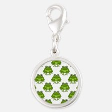 Cute Happy Frog Pattern Silver Round Charm