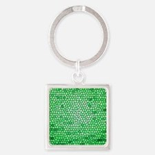Green color stained glass pattern Square Keychain