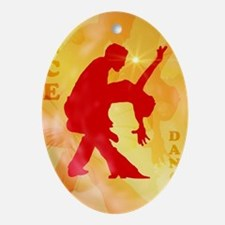 Dancing couple on a soft background Ornament (Oval