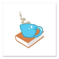 """HOT COFFEE ON BOOK Square Car Magnet 3"""" x 3"""""""