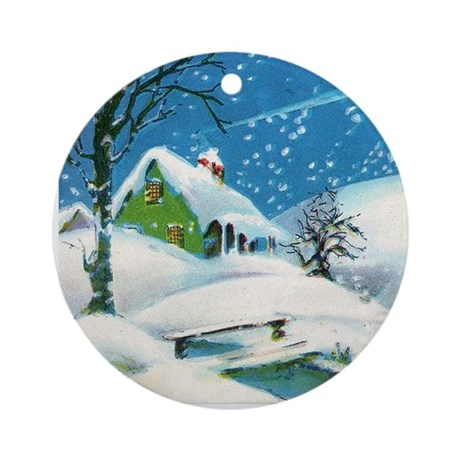White Christmas Vintage Image Ornament