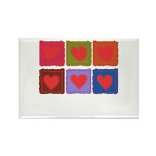 Country Patchwork Hearts Rectangle Magnet