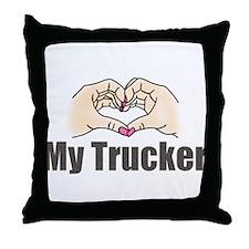 Love My Trucker Throw Pillow