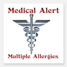 """Multiple Allergies Medic Square Car Magnet 3"""" x 3"""""""