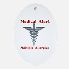 Multiple Allergies Medical Alert A Ornament (Oval)