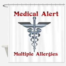Multiple Allergies Medical Alert As Shower Curtain