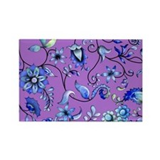 Purple and Blue Floral Rectangle Magnet