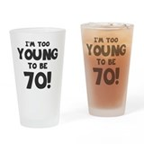 70th birthday women Pint Glasses