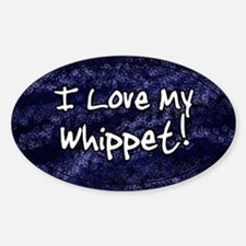 Funky Love Whippet Oval Decal