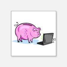 Piggy Bank And Laptop Sticker