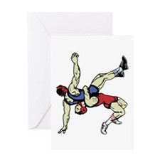 WRESTLERS Greeting Cards