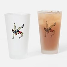 WRESTLERS Drinking Glass