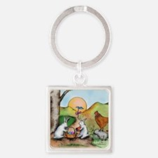 Cute Easter basket Square Keychain
