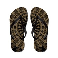 Shades of Sepia Blacks Browns Mandala Flip Flops