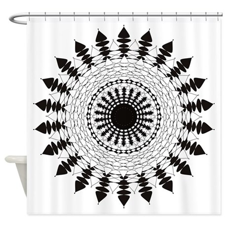 Black And White Mandala Flower Shower Curtain By Listing Store 123180779