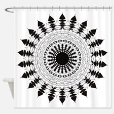 Black and White Mandala Flower Shower Curtain