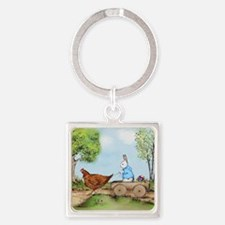 Easter Bunny on the Road Square Keychain