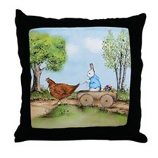Easter Bunny on the Road Throw Pillow