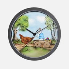 Easter Bunny on the Road Wall Clock
