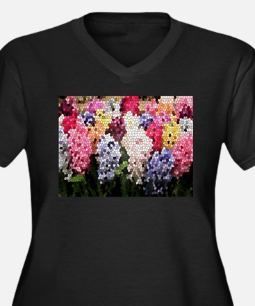 Hyacinths color stained glass pa Plus Size T-Shirt