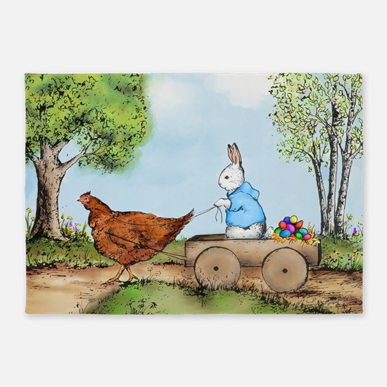 Easter Bunny on the Road 5'x7'Area Rug
