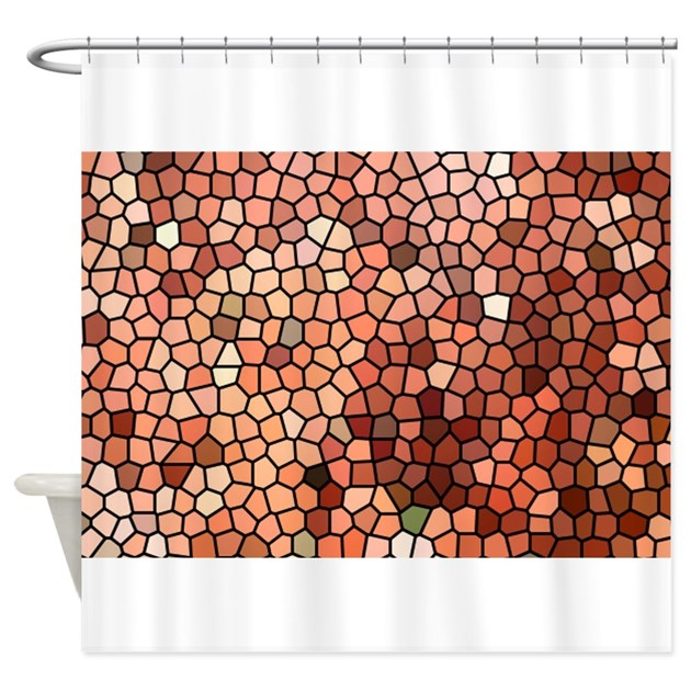 Brown Tan White Color Stained Glass Shower Curtain By ADMIN CP59183003