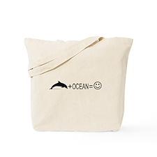 Dolphin+Ocean=Happy Tote Bag