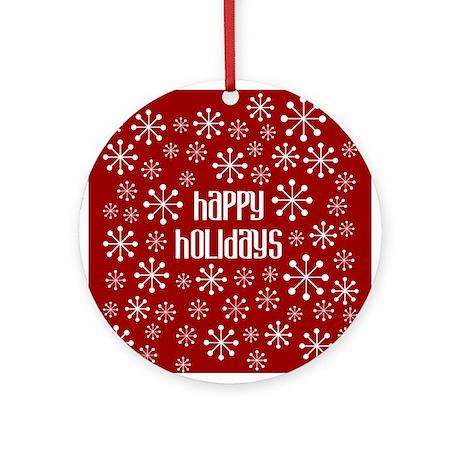 Happy Holidays RetroSnowflake Round Ornament by katalystkids