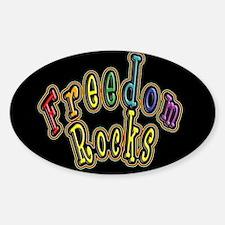 Black Background Rainbow and Golden Freedom Rocks