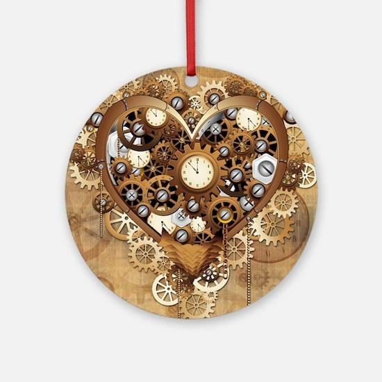 Steampunk Heart Love Ornament (Round)