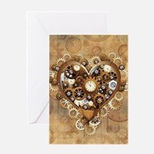 Steampunk Heart Love Greeting Cards