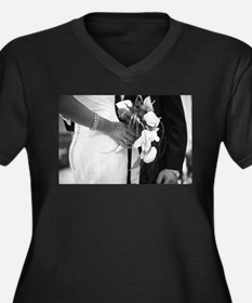 Bride and groom holding black an Plus Size T-Shirt