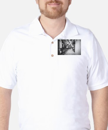 Groom holding hands with bride black an Golf Shirt