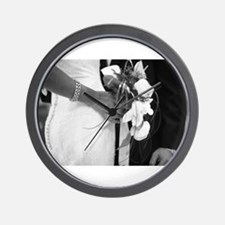 Bride and groom holding black and white Wall Clock