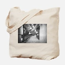 Groom holding hands with bride black and Tote Bag