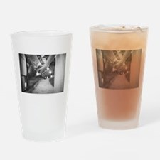 Groom holding hands with bride blac Drinking Glass