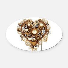 Steampunk Heart Love Oval Car Magnet