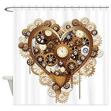 Steampunk Heart Love Shower Curtain