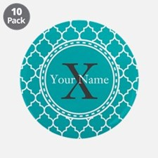 """Custom Name And Initial Teal Quatrefoil 3.5"""" Butto"""