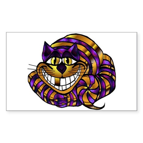 Golden Cheshire Cat Rectangle Sticker