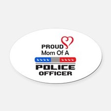 PROUD MOM AN OFFICER Oval Car Magnet