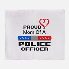 PROUD MOM AN OFFICER Throw Blanket