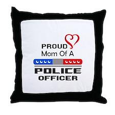 PROUD MOM AN OFFICER Throw Pillow