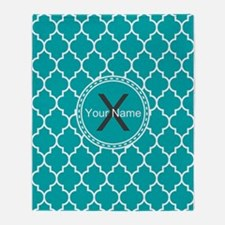 Custom Name And Initial Teal Quatrefoil Throw Blan