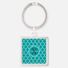 Custom Name And Initial Teal Quatrefoil Keychains