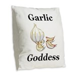 Garlic Goddess Burlap Throw Pillow