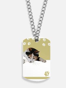 calico cat Dog Tags