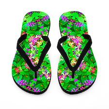 Pretty Flowers Green Flip Flops