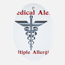 Multipe Allergies Medical Alert.png Ornament (Oval