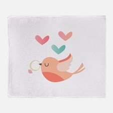 Bird With Wedding Ring Throw Blanket